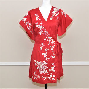 Red Wrap Kimono Dress with White Embroidery Sz S